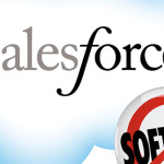 "A cloud logo for Salesforce with a ""no-software"" sign at the bottom right"