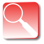 Red icon with magnifying glass