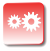 Red icon with gears