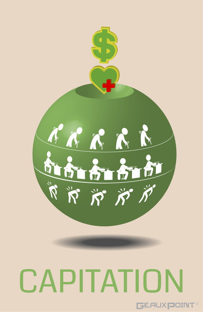 An infographic of capitation that showsa 3-dimensional money sign and heart with cross dropping into a sphere. The sphere has three sets of icons, including one group of elderly, one group with high blood pressure, and one with hurt backs.